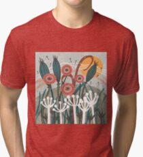 Meadow Breeze Floral Illustration Tri-blend T-Shirt