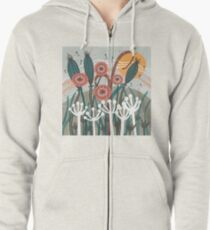 Meadow Breeze Floral Illustration Zipped Hoodie