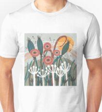 Meadow Breeze Floral Illustration Slim Fit T-Shirt