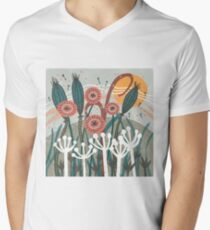 Meadow Breeze Floral Illustration V-Neck T-Shirt