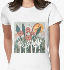 Meadow Breeze Floral Illustration Fitted T-Shirt