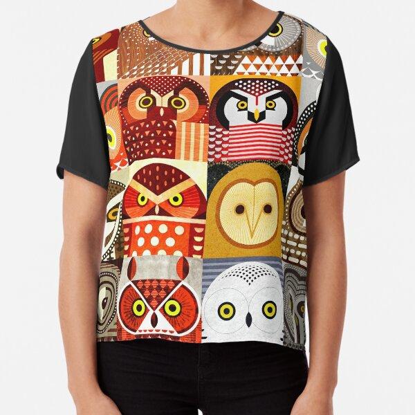 North American Owls Chiffon Top