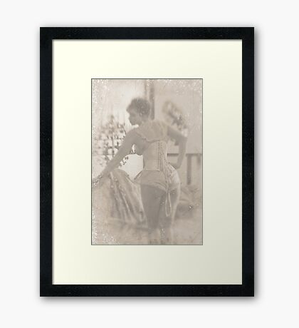 ~ woman in laced corset ~ Framed Print