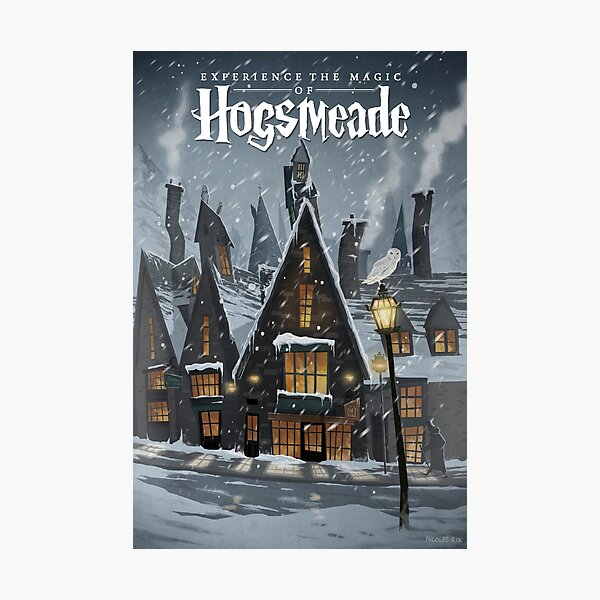 Visit Hogsmeade - Snowy Town Travel Poster Photographic Print