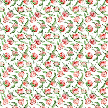 Hand painted white red green watercolor floral by Kicksdesign