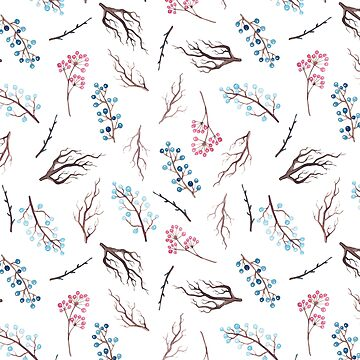 Hand painted winter blue pink watercolor floral by Kicksdesign
