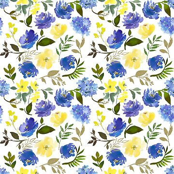 Hand painted yellow blue watercolor leaves floral pattern by Kicksdesign