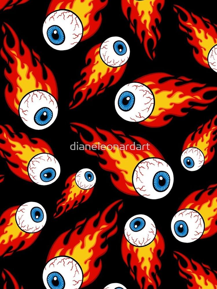 Flaming Eyeball Pattern by dianeleonardart