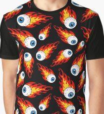 Flammendes Augapfel-Muster Grafik T-Shirt