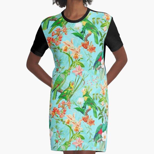 Vintage Teal Tropical Bird Jungle Garden Graphic T-Shirt Dress