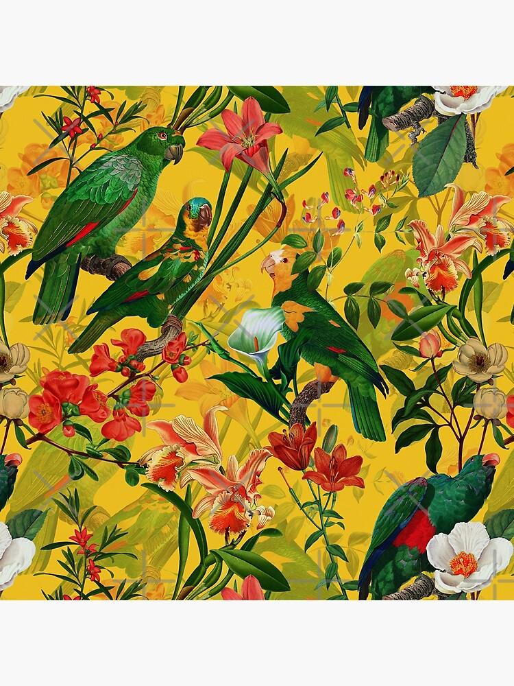Vintage Yellow Tropical Bird Jungle Garden by UtArt