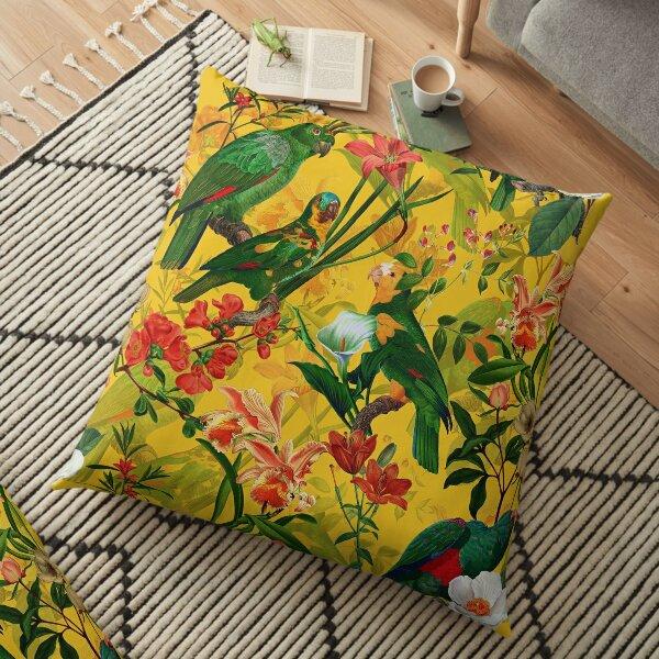 Jardin Jungle Oiseau Tropical Jaune Vintage Coussin de sol