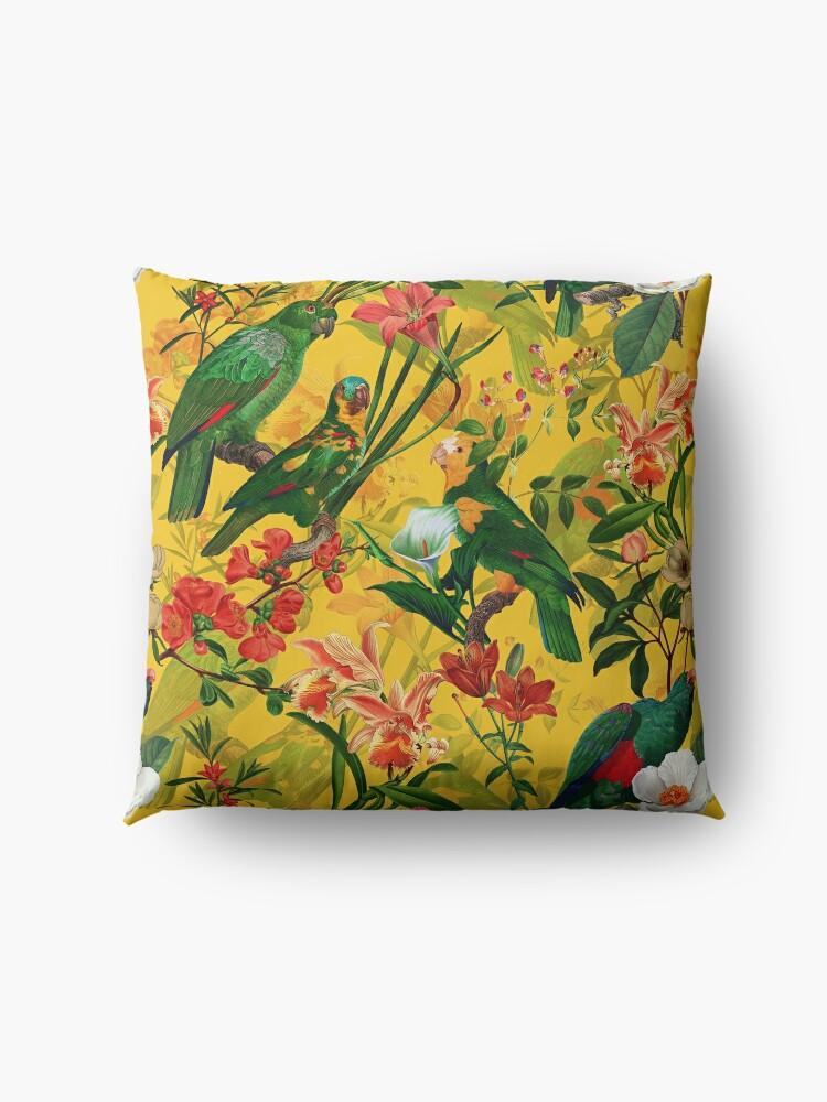 Alternate view of Vintage Yellow Tropical Bird Jungle Garden Floor Pillow