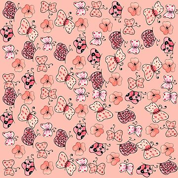 f  Pink and Light Pink  Butterflies and Flowers-Kawaii Pattern Design  by ozcushionstoo