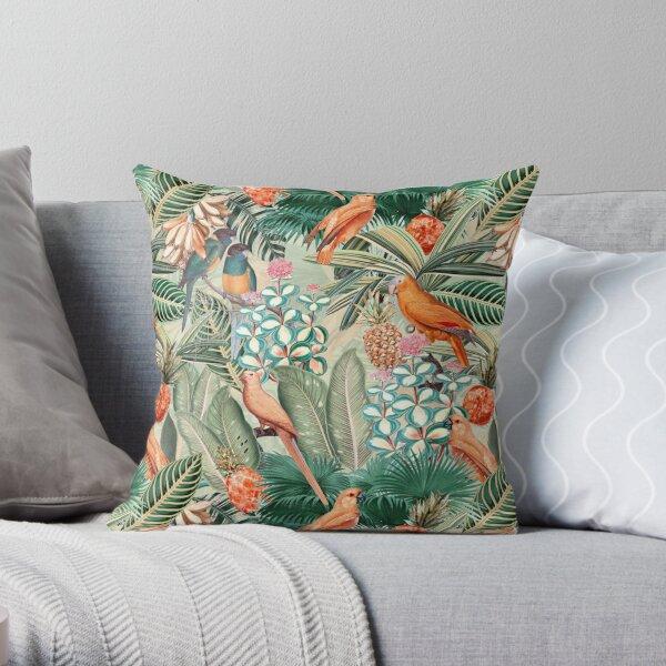 Vintage Orange Tropical Bird Jungle Garden Throw Pillow