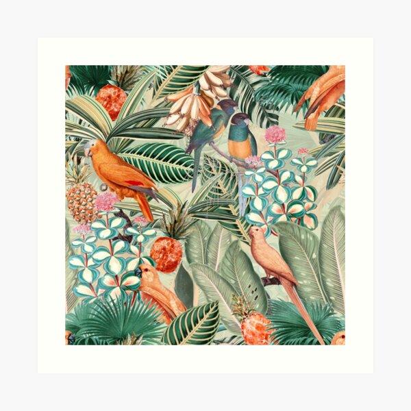 Vintage Orange Tropical Bird Jungle Garden Art Print