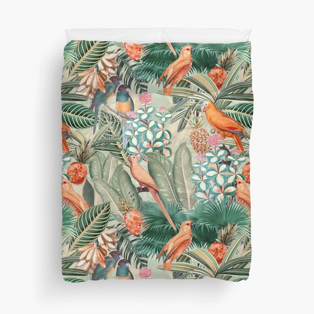Vintage Orange Tropical Bird Jungle Garden Duvet Cover