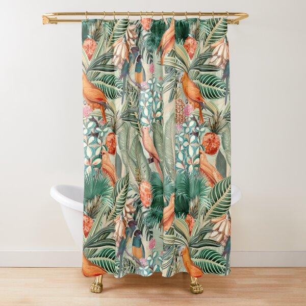 Vintage Orange Tropical Bird Jungle Garden Shower Curtain