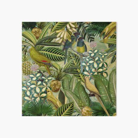 Vintage Green Tropical Bird Jungle Garden Art Board Print