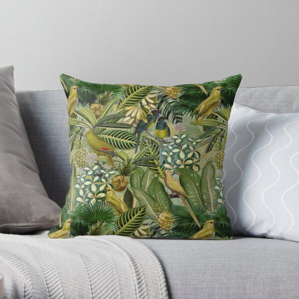 Vintage Green Tropical Bird Jungle Garden Throw Pillow