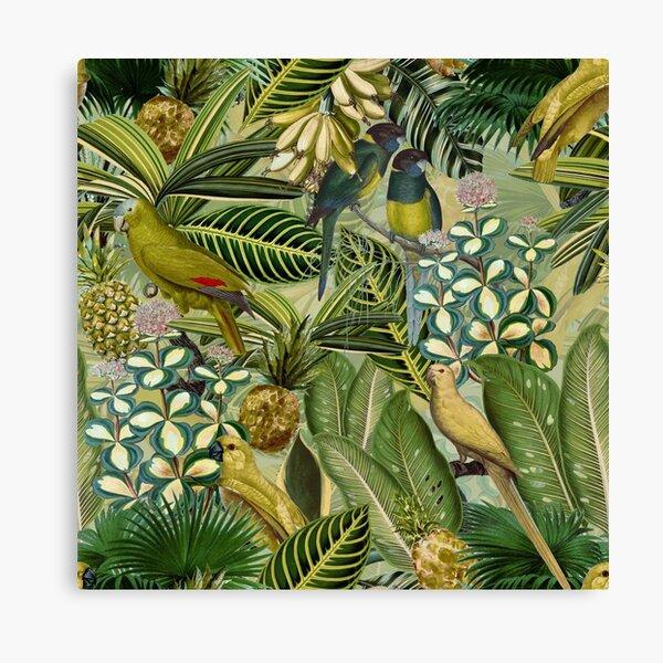 Vintage Green Tropical Bird Jungle Garden Canvas Print