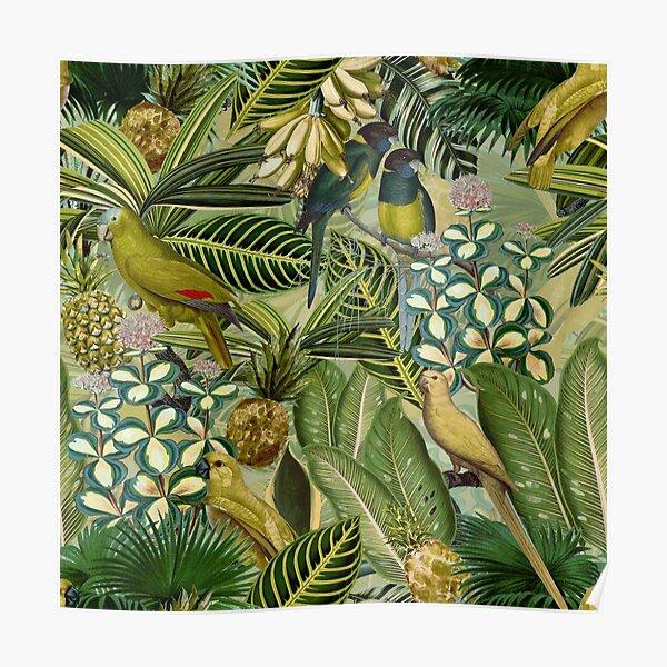 Vintage Green Tropical Bird Jungle Garden Poster
