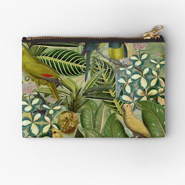 Vintage Green Tropical Bird Jungle Garden Zipper Pouch