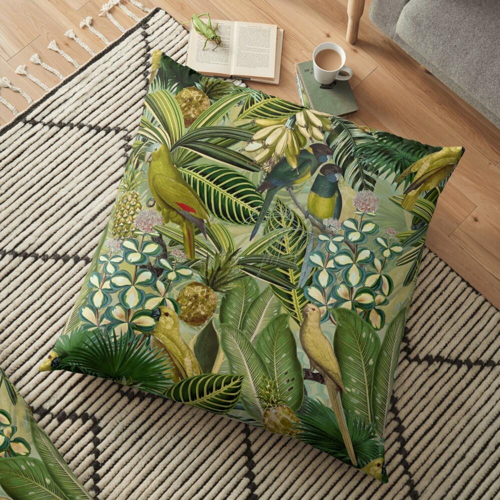Vintage Green Tropical Bird Jungle Garden Floor Pillow