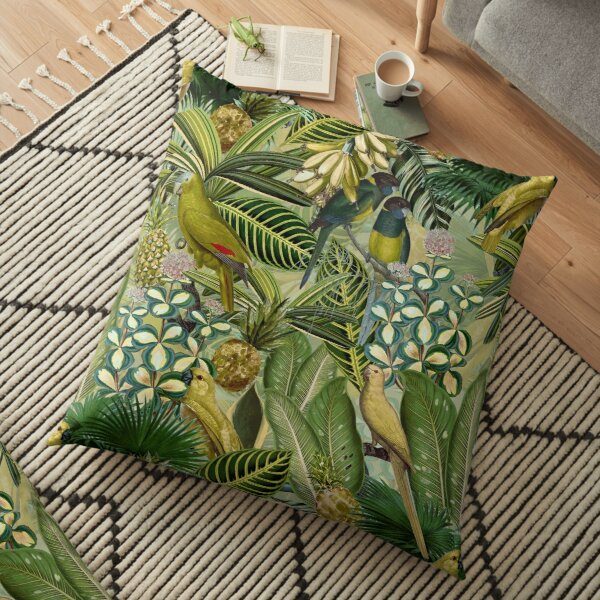 Vintage Green Tropical Bird Jungle Garden Floor Pillow