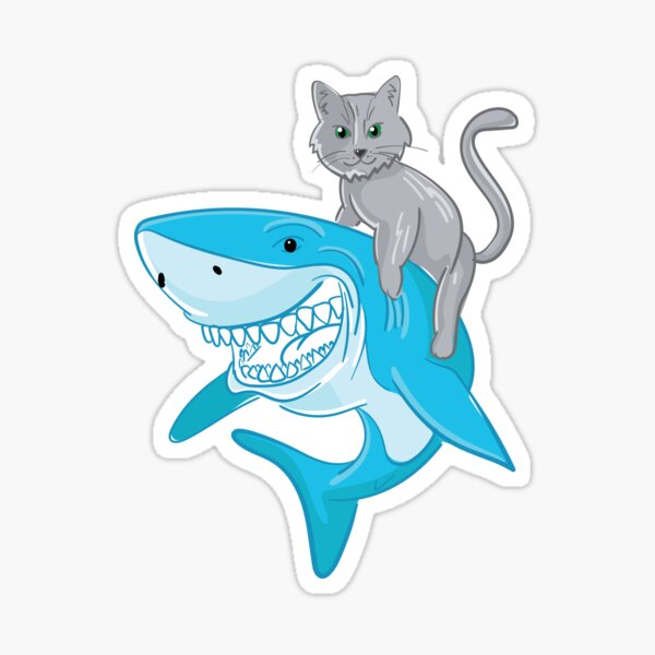 Awesome cat riding a shark to the new adventures Sticker