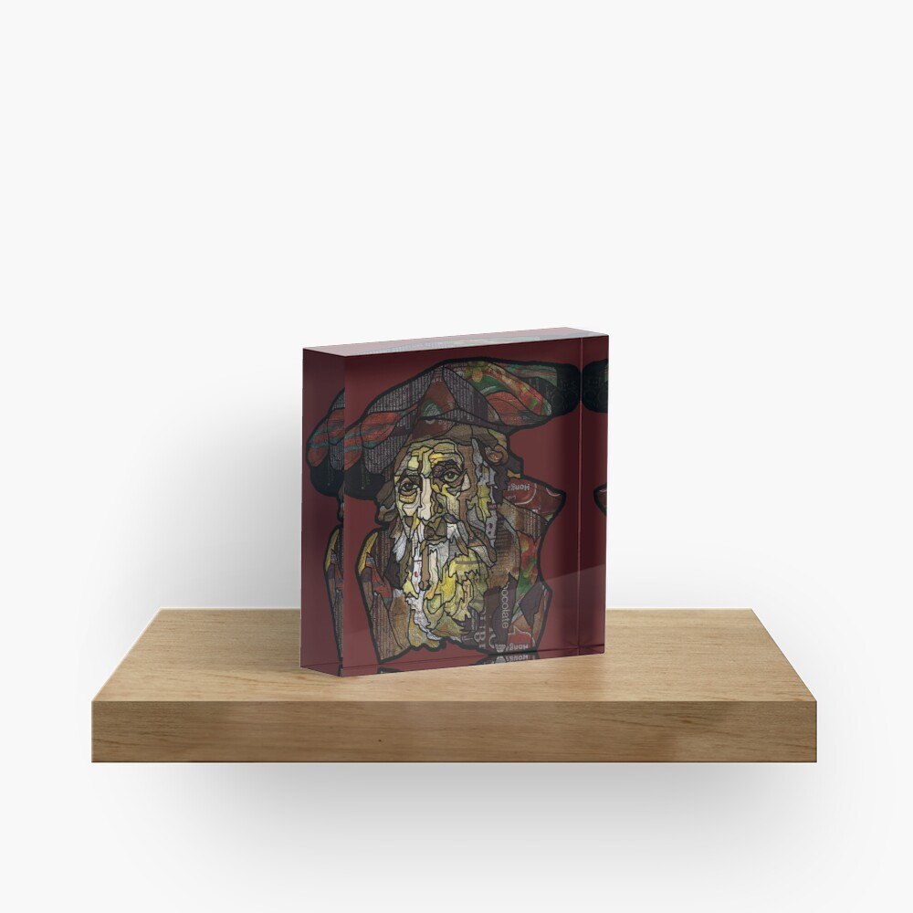 """Digital collage after  portrait of """"an old Jewish man""""by Rembrandt van Rijn Acrylic Block"""