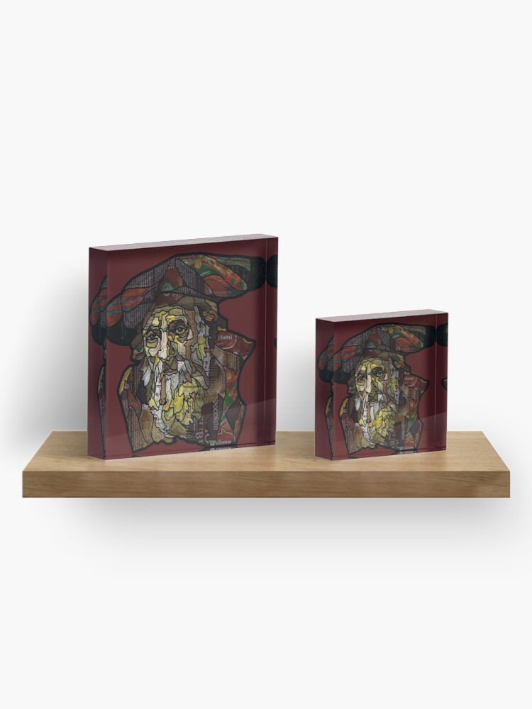 """Alternate view of Digital collage after  portrait of """"an old Jewish man""""by Rembrandt van Rijn Acrylic Block"""