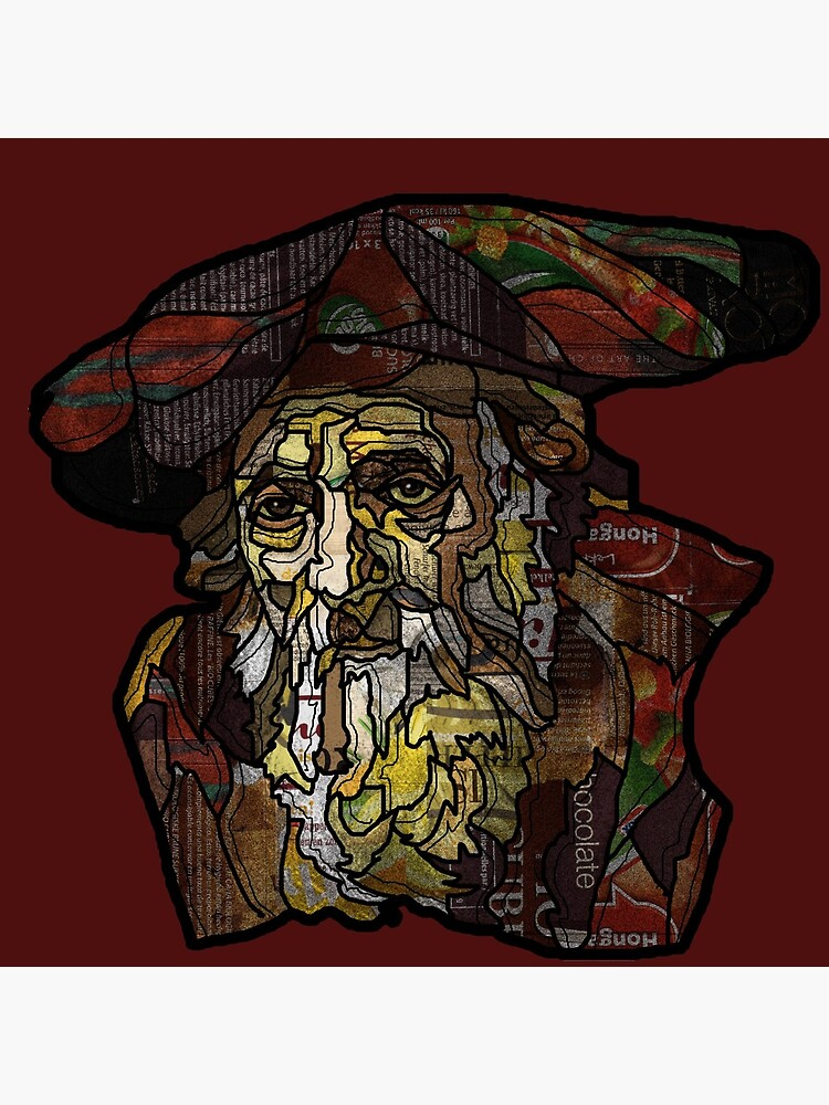 """Digital collage after  portrait of """"an old Jewish man""""by Rembrandt van Rijn by Packeredo"""