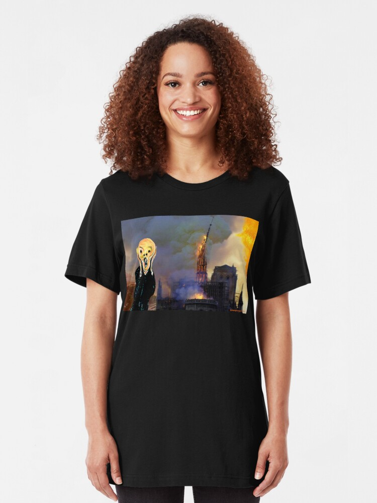 Alternate view of Screaming Fire Outside a Burning Cathedral Slim Fit T-Shirt