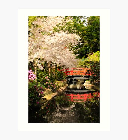 Red Bridge Reflection Art Print