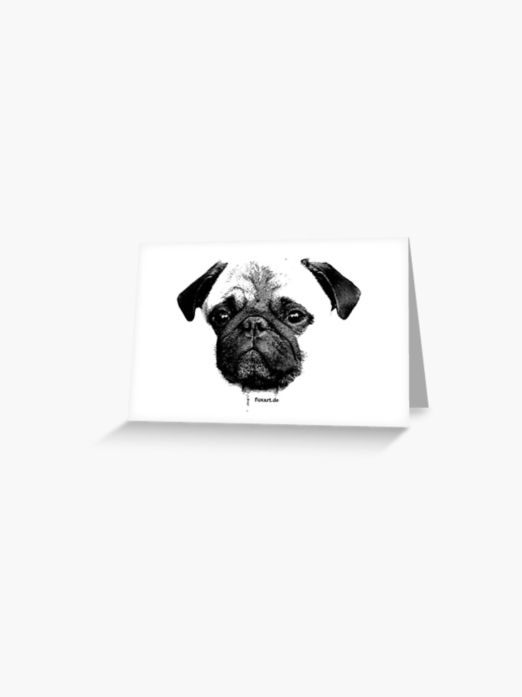 mops puppy white french bulldog, cute, funny, dog | Greeting Card