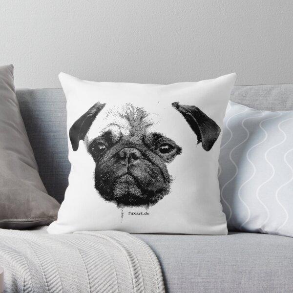 Mops Welpe weiß - französische Bulldogge, niedlich, lustig, Hund Dekokissen