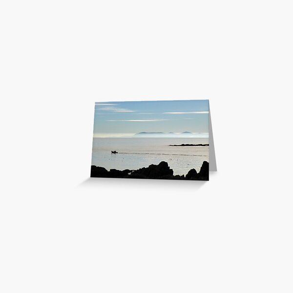 Isle of Man as seen from Galloway coast, Scotland Greeting Card