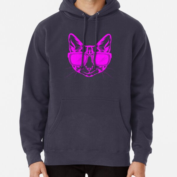 Purrfect pink cat with sunglasses Pullover Hoodie