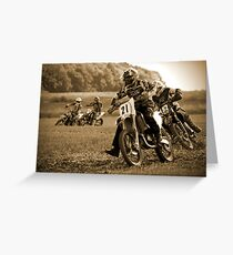 Sepia Enduro Bike Formation Greeting Card