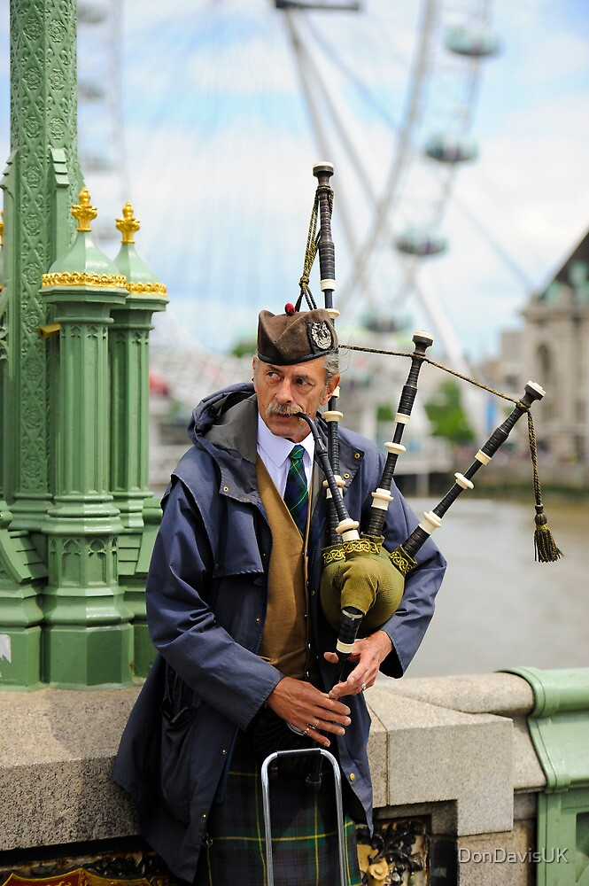 Candid Piper: Westminster Bridge and London Eye by DonDavisUK
