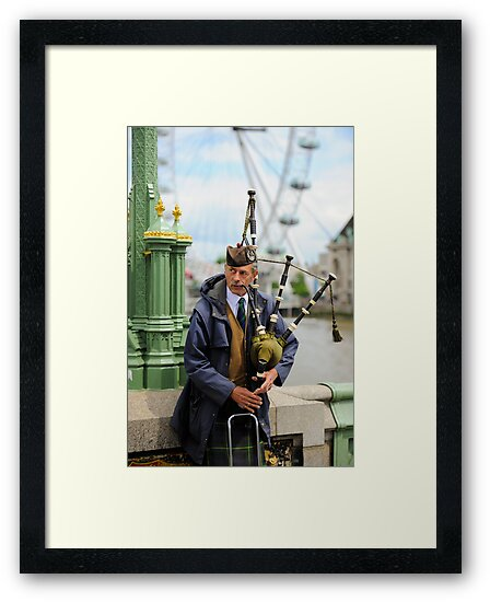 Candid Piper: Westminster Bridge and London Eye by DonDavisUK