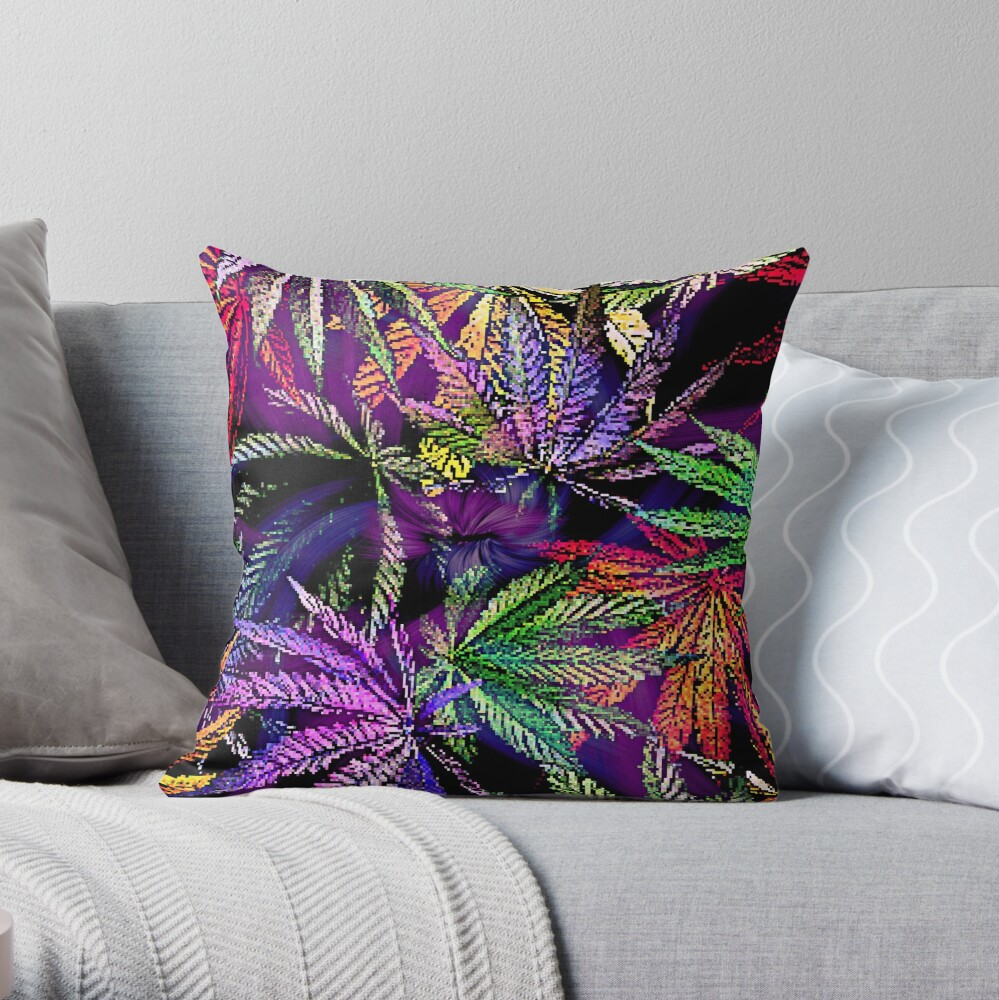 Bright and Bold Psychedelic Rainbow Cannabis Print Throw Pillow