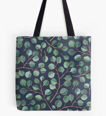 Einfache silberne Dollar-Eukalyptus-Blätter auf Marineblau Tote Bag