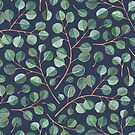 Simple Silver Dollar Eucalyptus Leaves on Navy Blue by micklyn