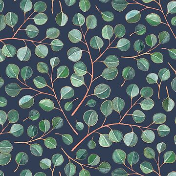Simple Silver Dollar Eucalyptus Leaves on Navy Blue by micklyn
