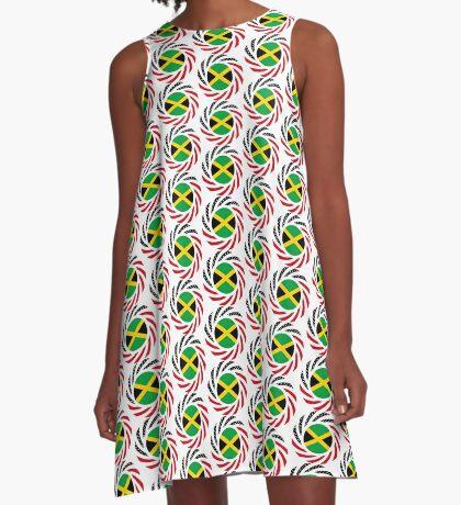 Jamaican American Multinational Patriot Flag Series A-Line Dress