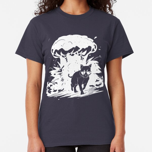 Badass cat with sunglasses walking away from the explosion Classic T-Shirt