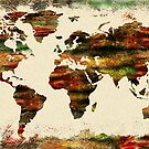 Terra Incognita World Map Watercolor  by Irina Sztukowski