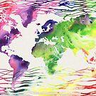 Rainbow World Map Watercolor  by Irina Sztukowski